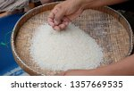 close up rice on threshing... | Shutterstock . vector #1357669535