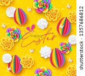 happy easter greeting card with ... | Shutterstock .eps vector #1357686812