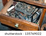 box with old small parts and... | Shutterstock . vector #135769022