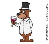 cartoon bear drinking wine | Shutterstock .eps vector #1357706342