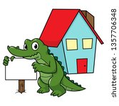 cartoon alligator in real... | Shutterstock .eps vector #1357706348