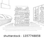 grocery store shop interior... | Shutterstock .eps vector #1357748858