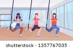 sporty women doing squats...   Shutterstock .eps vector #1357767035
