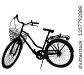 silhouette of bicycle on white...   Shutterstock . vector #1357792088