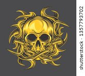 golden tribal skull design | Shutterstock .eps vector #1357793702
