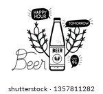 happy hour label with beer...   Shutterstock .eps vector #1357811282