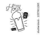 happy hour label with beer... | Shutterstock .eps vector #1357811285