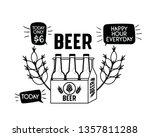 happy hour label with beer... | Shutterstock .eps vector #1357811288