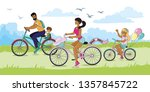 happy family riding bike in the ... | Shutterstock .eps vector #1357845722
