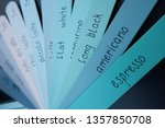 blue planks menu with various... | Shutterstock . vector #1357850708