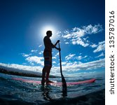 stand up paddle boarder... | Shutterstock . vector #135787016