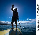 stand up paddle boarder...   Shutterstock . vector #135787022