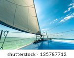 sailing boat on the water in... | Shutterstock . vector #135787712