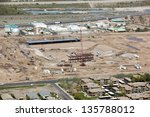 Construction of new baseball stadium in Mesa, Arizona as seen from above - stock photo
