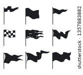 waving flags black silhouette... | Shutterstock .eps vector #1357883882