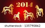 gold horse 2014   Shutterstock .eps vector #135790862