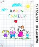 happy family holding hands baby ...   Shutterstock .eps vector #1357908872