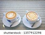 hot caramel macchiato and latte ... | Shutterstock . vector #1357912298