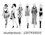 stylish fashion models. pretty...   Shutterstock .eps vector #1357935035