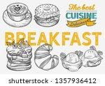 breakfast and brunch food... | Shutterstock .eps vector #1357936412
