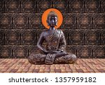 meditating brown lord buddha on ... | Shutterstock . vector #1357959182