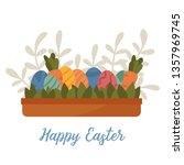 happy easter greeting card  egg ... | Shutterstock .eps vector #1357969745