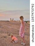 deserted beauty. girl  mother... | Shutterstock . vector #1357973792