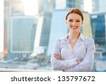 smiling young business woman on ... | Shutterstock . vector #135797672