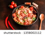 tasty pasta with shrimp and... | Shutterstock . vector #1358002112
