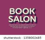 vector retro style logo book... | Shutterstock .eps vector #1358002685