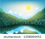 vector mountain landscape.... | Shutterstock .eps vector #1358004452
