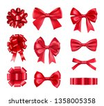 big set of red gift bows with... | Shutterstock .eps vector #1358005358