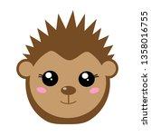 funny hedgehog face in kawaii...   Shutterstock .eps vector #1358016755