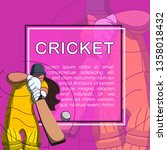 batswoman playing cricket.... | Shutterstock .eps vector #1358018432