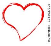 red heart border isolated on... | Shutterstock .eps vector #1358037308