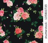 Stock vector fashionable modern wallpaper or textile with of collection red roses isolated on black design 135803735
