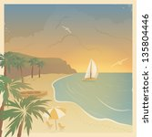Retro Card With The Sailboat...