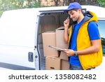delivery person. postman with... | Shutterstock . vector #1358082482