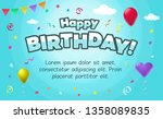happy birthday card template... | Shutterstock .eps vector #1358089835