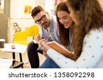 students learning for exam | Shutterstock . vector #1358092298