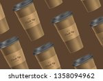 brown pattern coffee cup mockup ... | Shutterstock .eps vector #1358094962