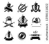kebab labels and elements set.... | Shutterstock .eps vector #1358111822