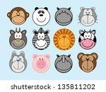 set of funny cartoon animals ... | Shutterstock .eps vector #135811202