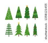 christmas trees icon set...   Shutterstock .eps vector #1358121455