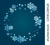 winter snowflakes and circles... | Shutterstock .eps vector #1358128418