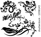 a set of 4 chinese floral...   Shutterstock .eps vector #1358145
