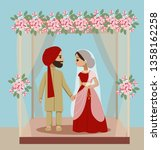 indian wedding couple under... | Shutterstock .eps vector #1358162258