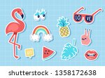fashion summer cute patches or... | Shutterstock .eps vector #1358172638