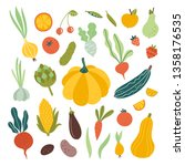 vegetables and fruits vector... | Shutterstock .eps vector #1358176535