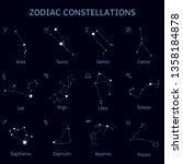 zodiac star constellations set  ... | Shutterstock .eps vector #1358184878
